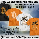 Bitcoin Not Bombs T-Shirts pre-sales in full swing