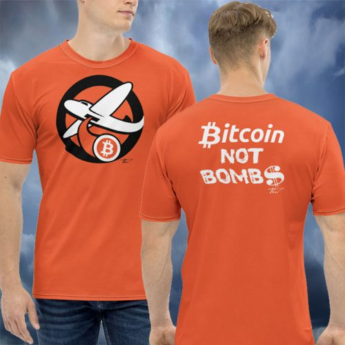Intergalactic Orange Bitcoin Bomber T-Shirt
